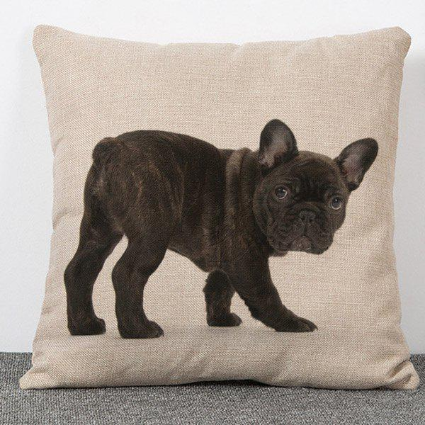 Chic Quality Animal Dog Pattern Flax Pillow Case(Without Pillow Inner) - COLORMIX