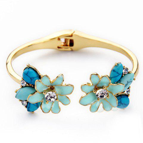 Charming Rhinestone Floral Cuff Bracelet For Women - GOLDEN