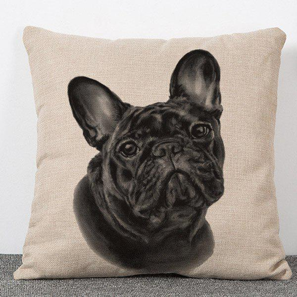 Chic Quality Dog Head Pattern Flax Pillow Case(Without Pillow Inner) - COLORMIX