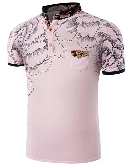 Hot Sale Stand Collar Floral Printing Short Sleeve Men's T-Shirt - PINK L
