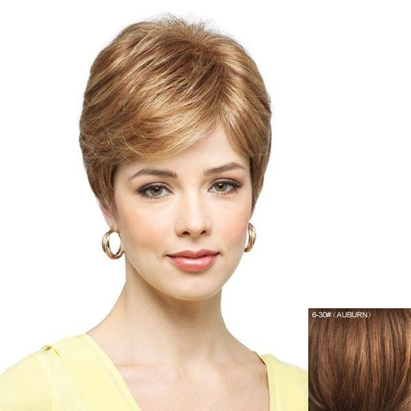 Women's Fluffy Ultrashort Inclined Bang Human Hair Wig - AUBURN