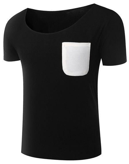 Hot Sale Round Neck Color Block Patch Pocket Short Sleeve Men's T-Shirt - BLACK XL