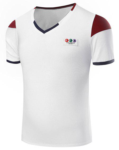 Hot Sale V-Neck Hit Color Spliced Short Sleeve Men's T-Shirt - WHITE 2XL