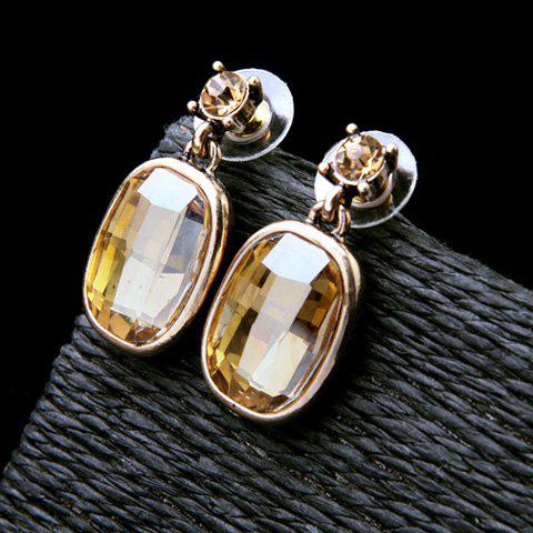 Pair of Oval Faux Crystal Earrings - CHAMPAGNE