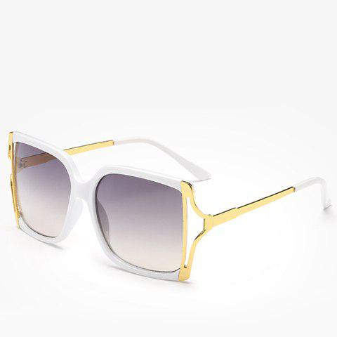 Chic Hollow Out Metal Splicing Women's Sunglasses - WHITE