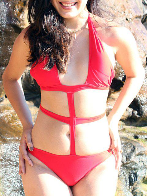 Sexy Hollow Out Solid Color Halter One-Piece Swimsuit For Women - RED M