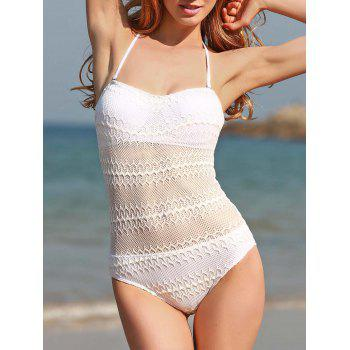 Sexy Halter White See-Through Voile Splicing One Piece Swimwear For Women