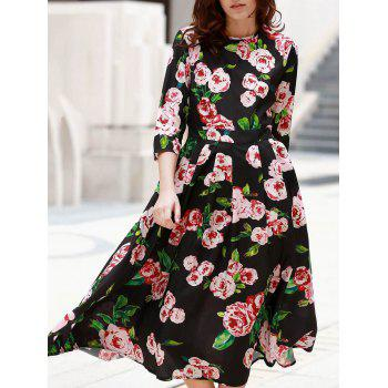 Elegant Women's Round Neck 1/2 Sleeve Floral Print Dress