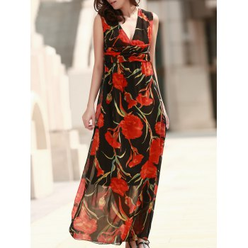 Sleeveless Sheer Floral Formal Dress