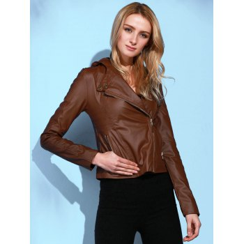 Stylish Long Sleeve Hooded Solid Color PU Women's Jacket