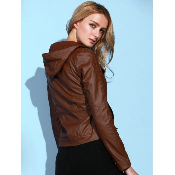 Stylish Long Sleeve Hooded Solid Color PU Women's Jacket - BROWN L
