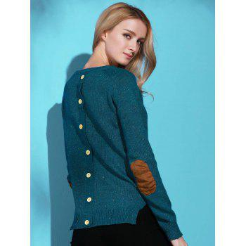 Stylish Elbow Spliced Back Buttoned Pullover Sweater For Women - GREEN S