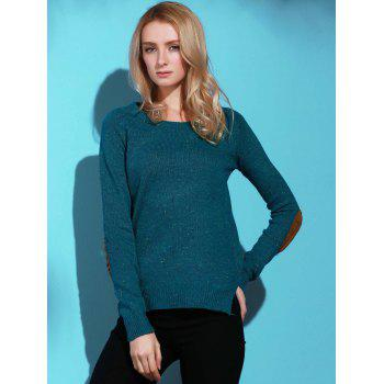 Stylish Elbow Spliced Back Buttoned Pullover Sweater For Women - GREEN L