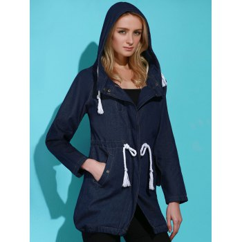 Stylish Long Sleeve Hooded Drawstring Women's Mid Length Coat