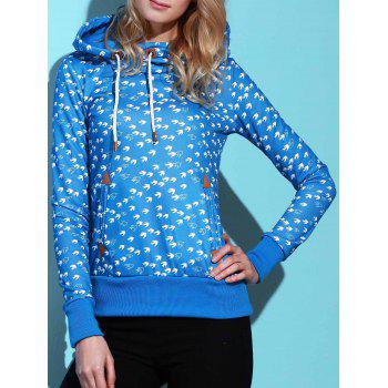 Cute Hooded Long Sleeve Drawstring Birds Print Women's Hoodie