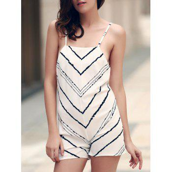 Sexy Spaghetti Strap Sleeveless Criss-Cross Striped Loose Women's Romper