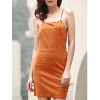 Sexy Spaghetti Strap Sleeveless Solid Color Lace-Up Women's Cami Dress