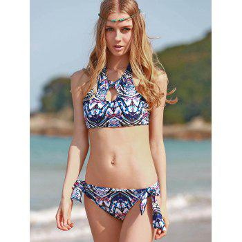Ethnic Style High Neck Printed Backless Women's Bathing Suit - COLORMIX M