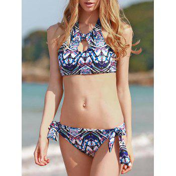 Ethnic Style High Neck Printed Backless Women's Bathing Suit