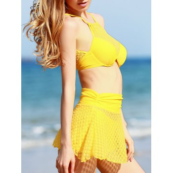 Fresh Style High Neck See-Through Polka Dot Three Piece Yellow Women's Bathing Suit