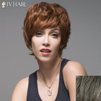 Vogue Side Bang Capless Fluffy Short Natural Wavy Human Hair Wig For Women - DARKEST BROWN WITH GRAY DARKEST BROWN/GRAY