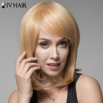 Ladylike Straight Human Hair Side Bang Wig For Women - GOLDEN BROWN WITH BLONDE GOLDEN BROWN/BLONDE