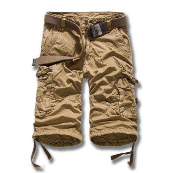 Multi-Pocket Lacing Cuffs Straight Leg Zipper Fly Men's Cargo Shorts