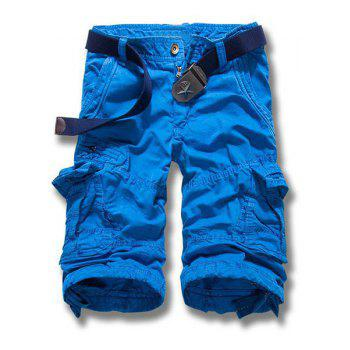 Multi-Pocket Solid Color Straight Leg Zipper Fly Men's Loose Fit Cargo Shorts