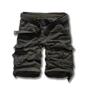 Camouflage Straight Leg Multi-Pocket Loose Fit Zipper Fly Men's Cargo Shorts