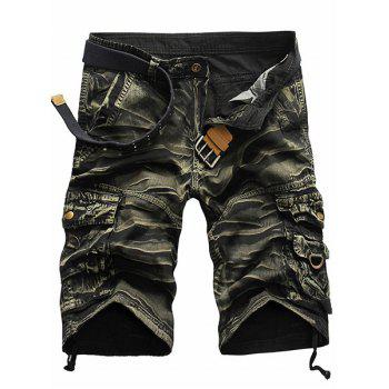 Shorts Camo de style militaire Jambe droite Multi-Pocket Loose Fit Zipper Fly Men