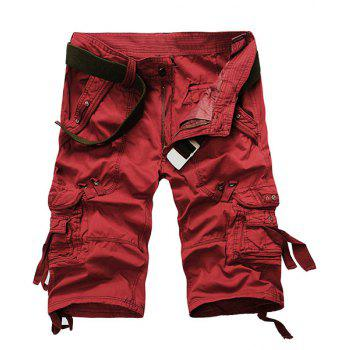 Straight Leg Multi-Pocket Zipper Fly Capri Pants