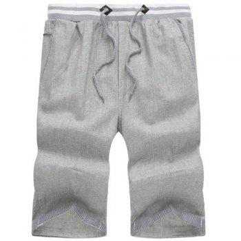 Buy Classic Plaid Spliced Straight Leg Lace-Up Men's Cotton+Linen Shorts LIGHT GRAY