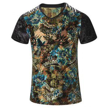 Plus Size V-Neck PU Leather Spliced Floral Print Men's Short Sleeves T-Shirt