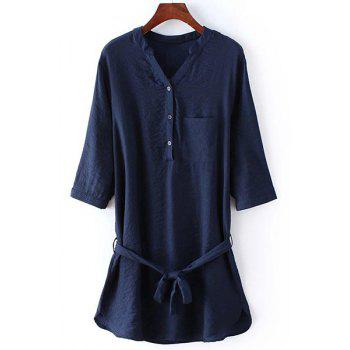 Casual 3/4 Sleeve Stand Collar Loose-Fitting Women's Shirt Dress