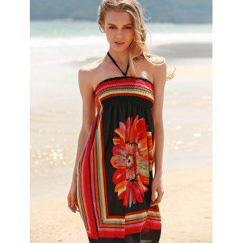 Bohemian Sleeveless Halter Women's Floral Dress - BLACK M