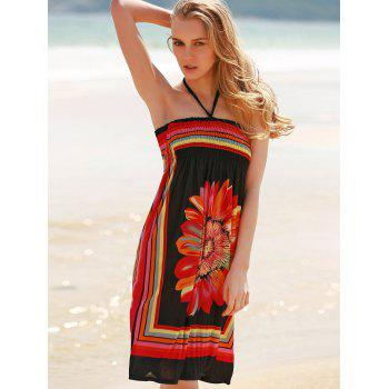 Bohemian Sleeveless Halter Women's Floral Dress - L L