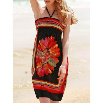 Bohemian Sleeveless Halter Women's Floral Dress - BLACK 2XL
