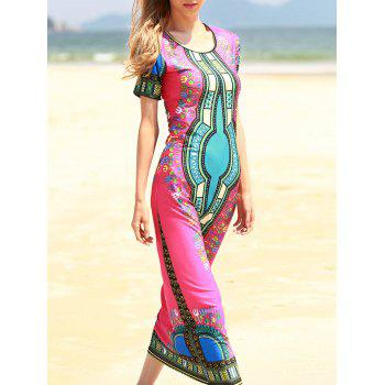 Bohemian Short Sleeve Scoop Neck Printed Women's Dress - ROSE ONE SIZE(FIT SIZE XS TO M)