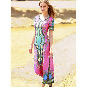 Bohemian Short Sleeve Scoop Neck Printed Women's Dress - ONE SIZE(FIT SIZE XS TO M) ONE SIZE(FIT SIZE XS TO M)