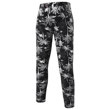 Hot Sale Narrow Feet Coconut Tree Pattern Print Zipper Fly Men's Pants