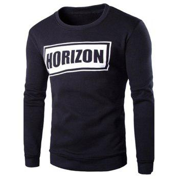 Hot Sale Round Neck Rib Splicing Letters Pattern Print Long Sleeve Men's Sweatshirt
