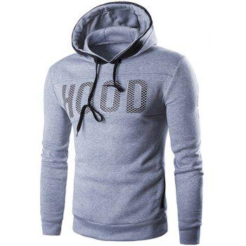 Hot Sale Hooded Letters Pattern Print Leather Splicing Long Sleeve Men's Hoodie