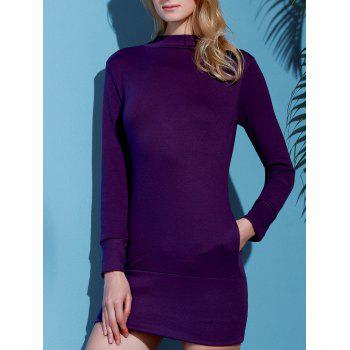 Brief Pure Color Turtleneck Long Sleeve Dress For Women - PURPLE S