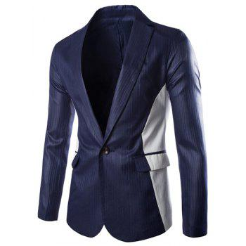 Lapel One Button Design Color Block Splicing Long Sleeve Men's Blazer