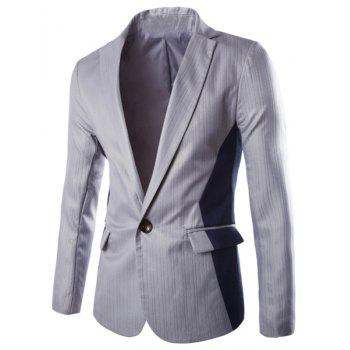 Lapel One Button Design Color Block Splicing Long Sleeve Blazer For Men