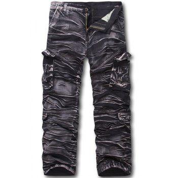 Military Style Zipper Fly Multi-Pocket Straight Leg Men's Camo Cargo Pants