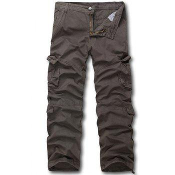 Straight Leg Solid Color Multi-Pocket Men's Zipper Fly Cargo Pants