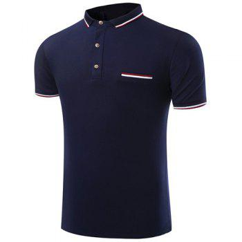 Trendy Turn-Down Collar Color Block Spliced Short Sleeve Men's Polo T-Shirt - SAPPHIRE BLUE 2XL