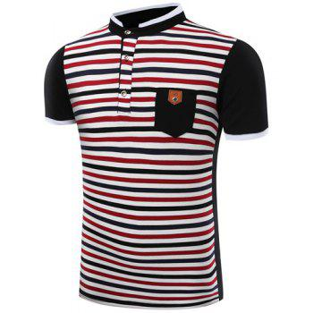 Modish Stand Collar Stripes Print Patch Pocket Short Sleeve Men's Polo T-Shirt - BLACK 3XL
