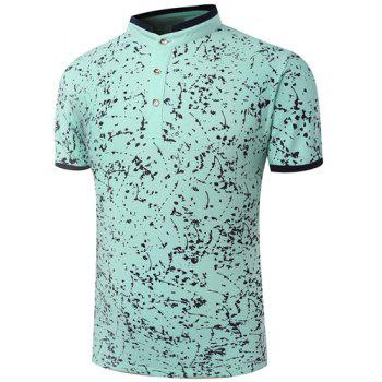 Modish Stand Collar Ink Painting Design Short Sleeve Men's Polo T-Shirt